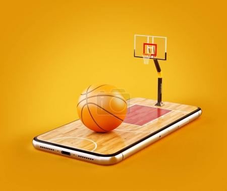 Unusual 3d illustration of a basketball ball on court on a smartphone screen. Watching basketball and betting online concept