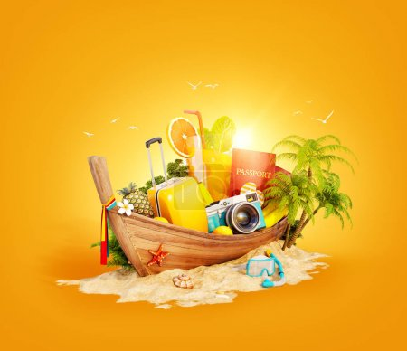 Photo for Beautiful Thai boat with suitcase, passport and camera inside on sand. Unusual 3d illustration. Travel and vacation concept. - Royalty Free Image