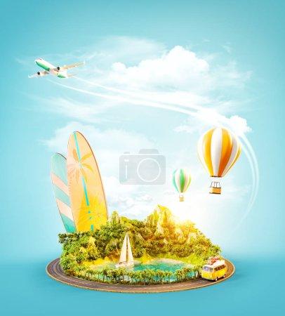 Photo pour Illustration 3D inhabituelle d'une montagne avec plage tropicale et route autour. Concept de voyage et vacances . - image libre de droit