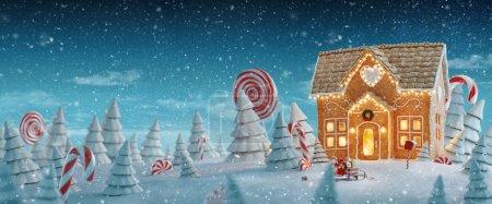 Photo pour Incroyable maison de pain d'épice de Noël décorée de lumières de Noël dans une forêt magique avec des cannes à bonbons. Insolite Noël 3d illustration carte postale . - image libre de droit