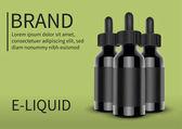 E cigarettes Liquid Bottle on green background Vape Vector illustration