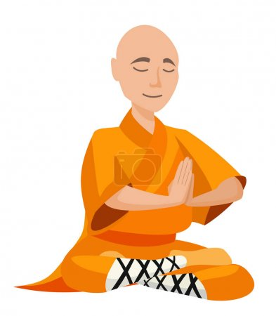 Chinese monk isolated on white background. Vector ...