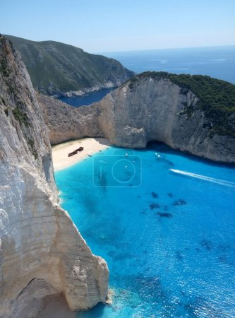 Navagio beach with blue water