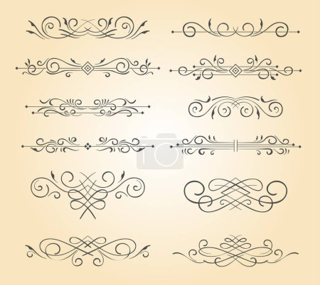 Illustration for A set of vintage ornamental text divider - Royalty Free Image
