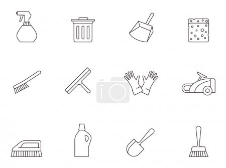Illustration for Cleaning tool icons series in thin outlines - Royalty Free Image