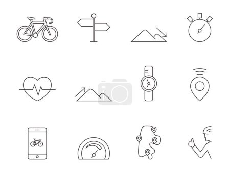 Cycling icons set