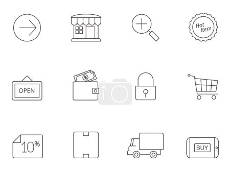 Illustration for Ecommerce icons series in thin outlines - Royalty Free Image