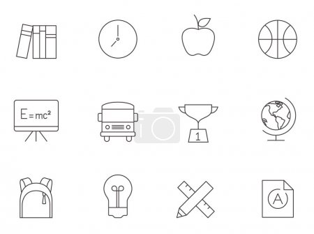 Illustration for School icons series in thin outlines. - Royalty Free Image