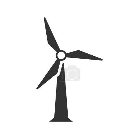 Illustration pour Icône éolienne en une seule couleur grise. Énergie de production d'électricité renouvelable - image libre de droit