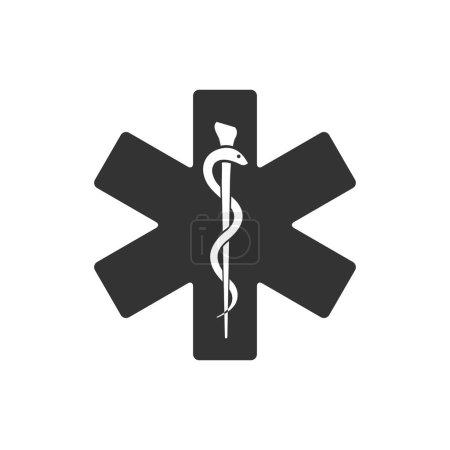 Illustration pour Icône symbole médical en une seule couleur. Étoile de vie Caduceus serpent soins de santé d'urgence - image libre de droit