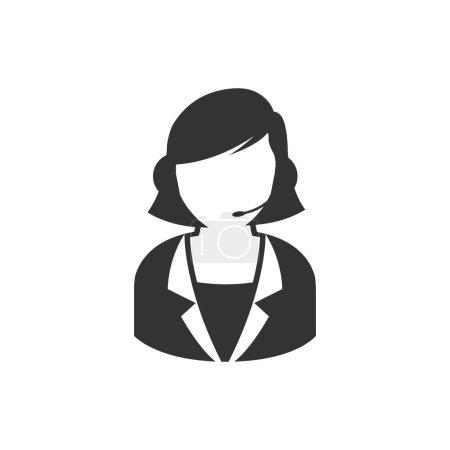 Illustration pour Icône réceptionniste féminine de couleur gris unique. Call center, support, help desk - image libre de droit