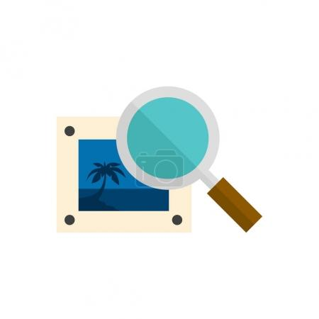 Illustration for Printing quality control icon in flat color style. Print shop service publisher desktop publishing - Royalty Free Image