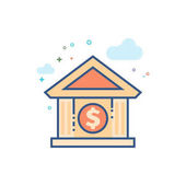 Bank building icon in outlined flat color style Vector illustration