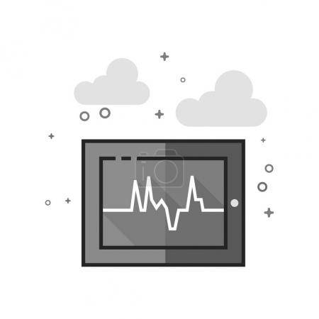 Heart rate monitor icon in flat outlined grayscale...