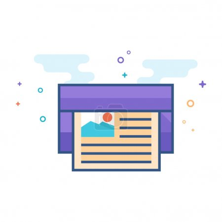 Offset printing icon in outlined flat color style. Vector illustration.