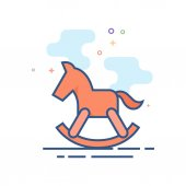 Flat Color Icon - Rocking horse toy