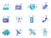Wireless technology icon series in flat color style Vector illustration