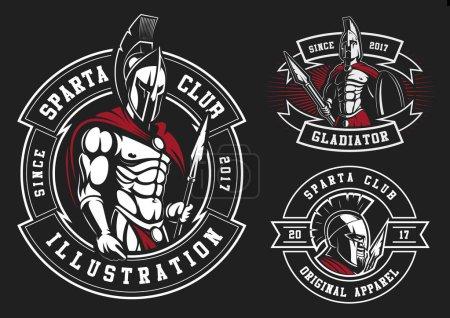 Illustration pour Ensemble de gladiateurs sur fond noir. Tous les éléments sont sur le calque séparé . - image libre de droit