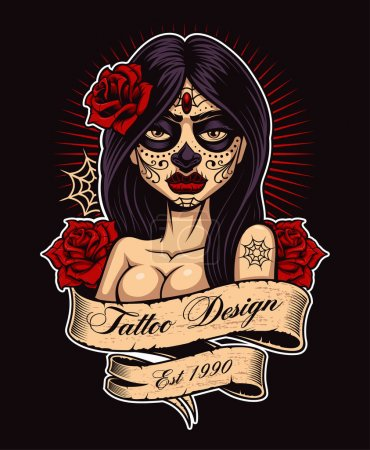 Illustration for Chicano tattoo girl. Tattoo design, perfect for print on shirt. All elements, text, colors are on the separate layer and easy editable. (COLOR VERSION ON DARK BACKGROUND). - Royalty Free Image