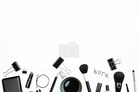 Photo for Space with female accessories. Flat lay, top view. Blog header. Space for text - Royalty Free Image