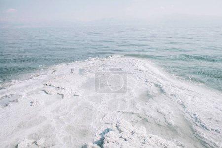 Dead sea salty white shore