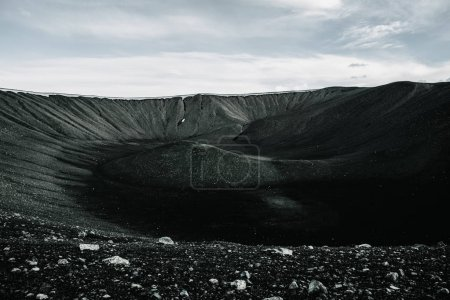 View of amazing Hverfjall volcanic crater in Iceland