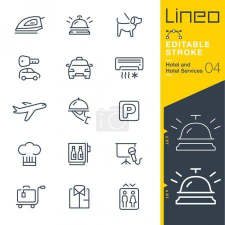 Illustration pour Course modifiable Lineo - Icônes de ligne d'hôtel - image libre de droit