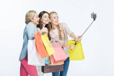Women making selfie