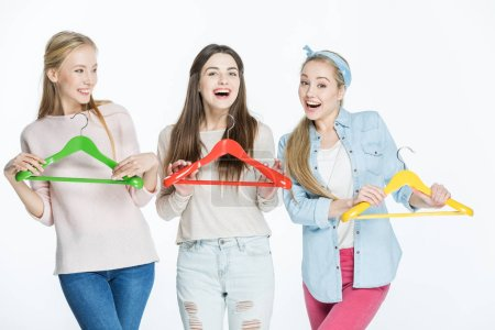 Women with colorful hangers