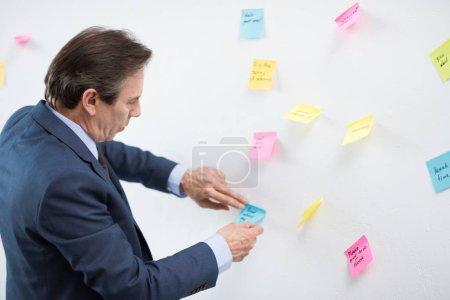 businessman putting sticker on board