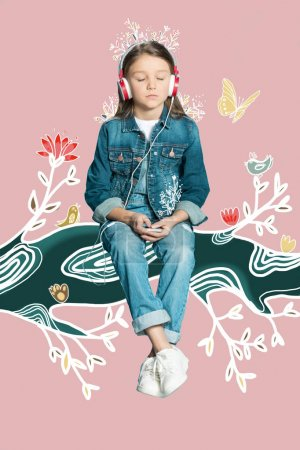 Photo for Adorable little girl in headphones dreaming while sitting on magic branch - Royalty Free Image