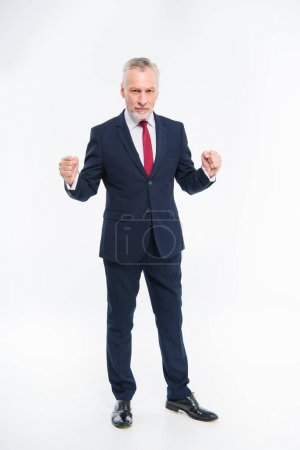 Photo for Full length portrait of handsome mature businessman in suit triumphing isolated on white - Royalty Free Image