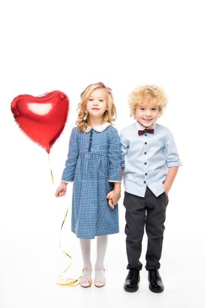 Kids with heart shaped balloon