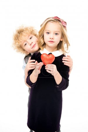 Kids with red heart sign