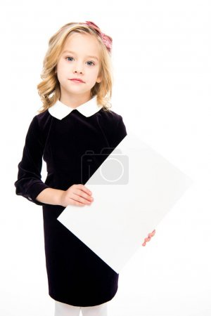 Girl holding blank card