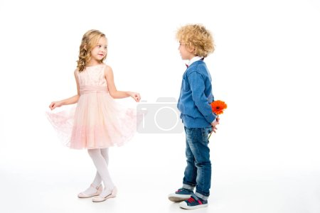 Adorable kids with flower