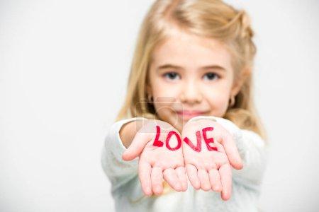 Word love written on palms