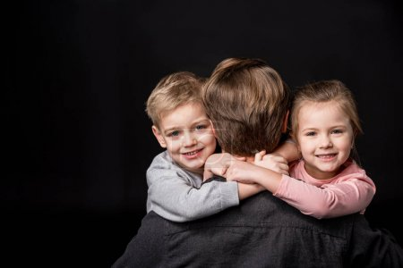 Happy father with kids