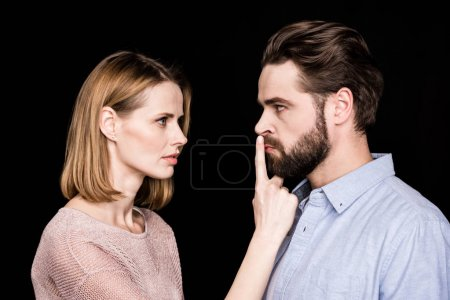 Woman asking man for quiet