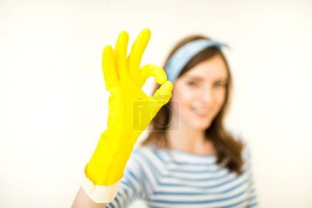 Woman showing ok gesture