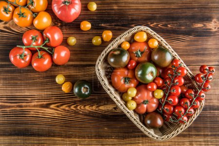 Fresh tomatoes in basket