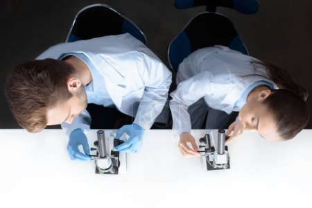 Scientists working with microscopes