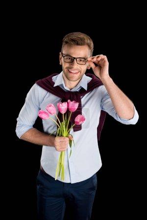 Man holding tulips