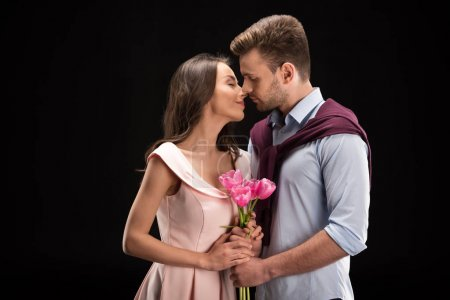 couple in love with tulips