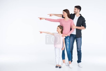 Happy family pointing
