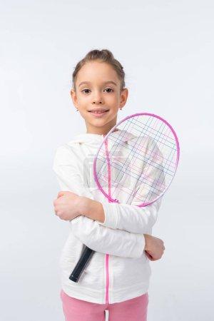 Photo pour Portrait of smiling girl holding badminton racket  isolated on white - image libre de droit