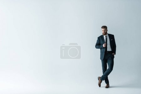 Photo for Full length view of handsome bearded businessman in stylish suit posing  isolated on grey - Royalty Free Image