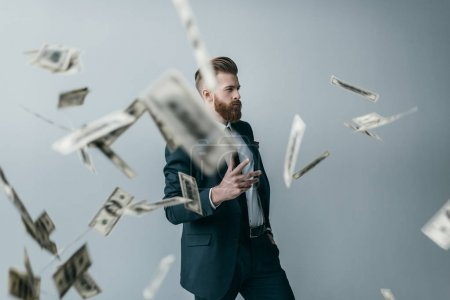 businessman with dollar banknotes