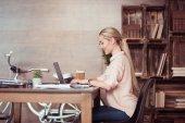 """Постер, картина, фотообои """"деловая женщина, работающая с ноутбуком"""""""