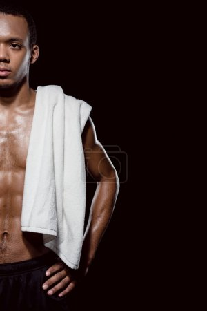 sporty man with towel